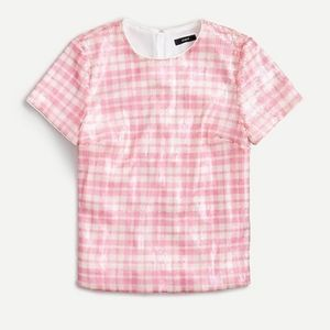 J Crew Sequin Gingham Top In Pink Ivory